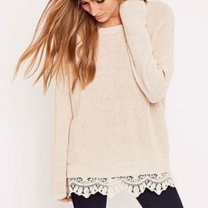 UO Pins & Needles Cream Lace Trim Sweater Medium